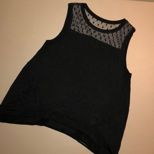 Black Sleeveless Top With Sheer Top Size M